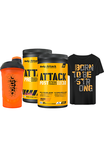 Body Attack Pre & Post Attack Paket plus gratis T-Shirt und gratis Shaker